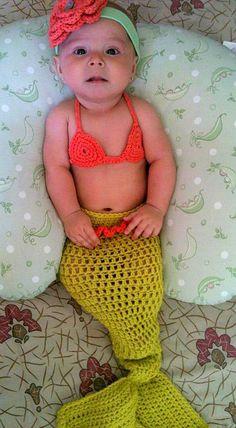 Mermaid Baby Girl Crochet Cocoon Tail and Bikini Top - Photography Prop - Halloween Costume. $38.00, via Etsy.