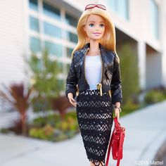 Black bomber jacket, a fall style staple.  #barbie #barbiestyle