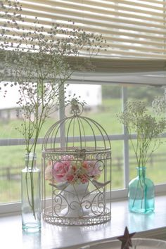 Bird cage decorations for a shabby chic baby shower.