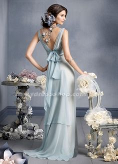 Strapless Empire Sweep/Brush Train Chiffon Bridesmaid Dress With Sashes/Ribbons (MW41B3)-LuckyDressShop.com