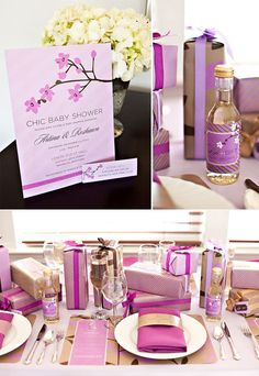 Purple baby shower bottle favors-  ~ For more organization, party & home inspiration, diy's & more check out- these-2-hands.com #These-2-Hands