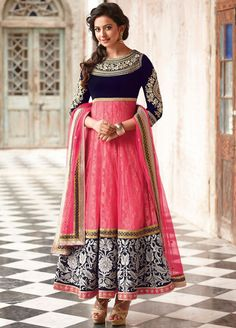 Preet Pink and Blue Net Anarkali