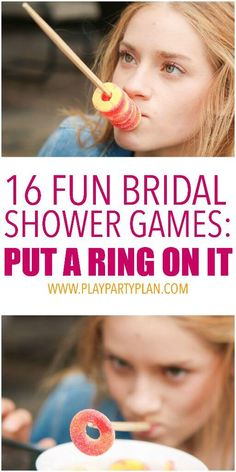 A girl putting rings on a chopstick in one of the most fun bridal shower games