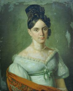 Lovely blue gown with green ribbon. 19th c Unknown Russian artist - Portrait of a lady