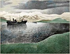 Watercolour painting entitled 'Norway', by the artist Eric William Ravilious. From the Laing Art Gallery in Newcastle Landscape Art, Landscape Paintings, Landscapes, History Of Illustration, Garden Of Earthly Delights, Wood Engraving, Online Art, Norway, Art Gallery