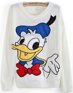 White Long Sleeve Donald Duck Print Sweater US$32.46