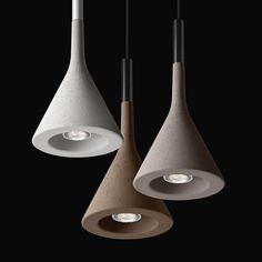 The Aplomb pendant lamp from Foscarini is designed in 2010 by an Italian design studio Lucidi & Pevere. The lamp is made of concrete which is an important part of the modern architecture. Concrete Light, Concrete Lamp, Concrete Design, Interior Lighting, Home Lighting, Lighting Design, Pendant Lamp, Pendant Lighting, Ceiling Lamp
