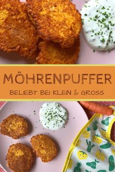 Möhrenpuffer mit Haferflocken nicht nur für Baby & Kind Carrot pancakes with oatmeal and yoghurt dip – simple fitness recipe that is also ideal for babies and children: www. Crock Pot Recipes, Baby Food Recipes, Fall Recipes, Carrot Recipes, Pancakes Oatmeal, Carrot Pancakes, Meals For Two, Kids Meals, Easy Meals