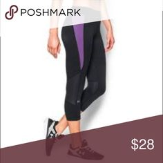 5de550a640 Nwt crop size L by under armour Nwt WOMENS crop size L by under armour.  Style 1271787 color 006 black and purple. Under Armour Pants Ankle & Cropped