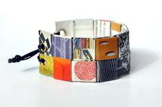 Recycling Paper jewelry - bracelet Berlin - Papier-Armreif aus Zeitschriftenfunden von Schnipseljagd auf DaWanda.com