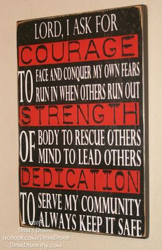 Firefighter Sign Firefighter Decor Firefighter by DeenasDesign