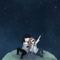 Carmilla and Laura looking at the stars