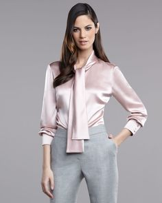 St. John Liquid Satin Blouse in Pink (powder)