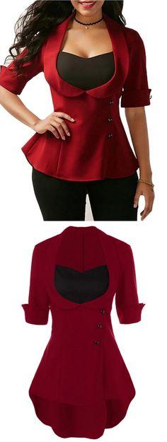 High Low Hem Lace Up Peplum Blouse #valentinesday Tee T Shirt, Shirt Blouses, Shirts, Peplum Blouse, Work Tops, School Fashion, Fashion Design, Fashion Tips, Fashion Trends