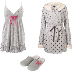 I love the girlyness of polka dots and the matching gown and slip pers. This would be a perfect summer bedtime look for me. RH Robe only Cute Sleepwear, Sleepwear & Loungewear, Lingerie Sleepwear, Nightwear, Cute Pajama Sets, Cute Pjs, Cute Pajamas, Lazy Day Outfits, Cute Outfits