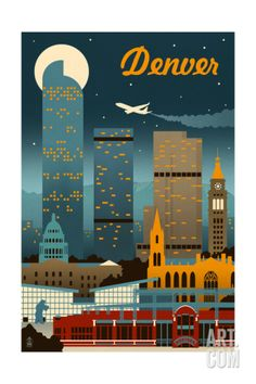 Denver, Colorado - Retro Skyline Art Print by Lantern Press at Art.com
