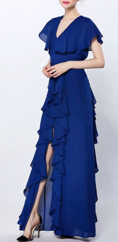 Slit Ruffle Backless Party Dress