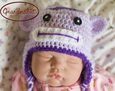 Purple Crocheted Baby Monkey Earflap Hat Handmade by Grandmabilt, $24.00