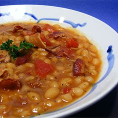 """Bean with BaconI """"This is the best bean soup ever! Up here in the Northwest, we are big soup fans in the cold winter months, and this soup is fantastic comfort food."""""""