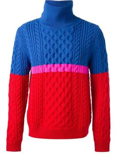 Kenzo colour block sweater, Blue and red wool blend colour block sweater from Kenzo featuring a ribbed crew neck, long sleeves, a ribbed hem and cuffs and a cable knit. Mens Shawl Collar Cardigan, Mens Cable Knit Sweater, Cashmere Sweater Men, Chunky Oversized Sweater, Men Sweater, Mens Cotton Sweaters, Vintage Sweaters, Sweater Design, Color Block Sweater