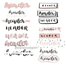 Notes headers Notes headers Calligraphy: Some sort of Lucrative Business Bullet Journal Headers, Bullet Journal Banner, Bullet Journal Notebook, Bullet Journal School, Bullet Journal Ideas Pages, Bullet Journal Inspiration, Bellet Journal, Kunstjournal Inspiration, Journal Fonts