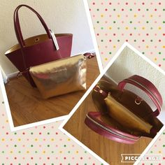 ❤️large Burgundy handbag with gold cosmetic case❤️ ❤️NWT large burgundy handbag with gold cosmetic case you can attach or detach. Great for travel. Cosmetic case measures. 12x10. Bag measures 18x13 ❤️ hook for safety to close the bag. Bags Travel Bags