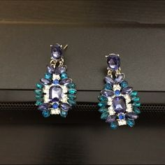 Crystal  Leaf Flower Dangle Statement Earring Beautiful new green and blue statement earrings. Great with all styles. N/A Jewelry Earrings