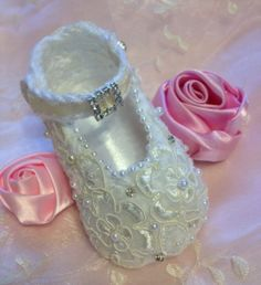 Crochet Baby Booties in Satin and Lace by TippyToesBabyDesigns, $30.00
