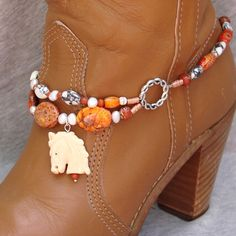 Boot Bracelet With Hand Carved Oxbone Horse by BlackBunnyBeads, $60.00