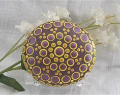 Mandala WISDOM Stone ~ Hand Painted River Rock ~ Energy ~ Meditation ~ Metallic Berry & Gold ~ Jewel Dot Painting