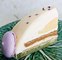 Oh i wish! // green tea sponge cake, yuzu mousse, lavender crème brûlée, white chocolate caramel ganache, pistachio white chocolate crisp, white chocolate glaze w/ green tea & lavender macarons