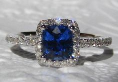 Ceylon Cornflower Blue Sapphire in White Gold Diamond Halo Engagement Ring, by JuliaBJewelry, $1195.00