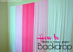 diy cheap and easy photo backdrop using crepe paper streamers Crepe Paper Backdrop, Streamer Backdrop, Paper Streamers, Tissue Paper, Fabric Backdrop, Diy Photo Booth Backdrop, Diy Wedding Backdrop, Photo Backdrops, Diy Photobooth