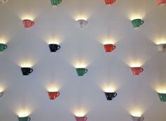 Cafe Diglas, Coffee Cup Wall Lights - New Deko Sites Design Shop, Design Café, Cafe Design, Coffee Shop Bar, Coffee Shop Design, Coffee Shops Ideas, Coffee Shop Lighting, Cafe Lighting, Outdoor Lighting