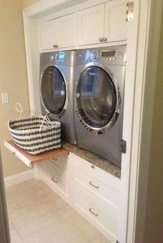 Laundry Closet, Small Laundry Rooms, Laundry Room Organization, Laundry Room Design, Basement Laundry, Storage In Laundry Room, Bathroom Storage, Laundry Organizer, Laundry Shelves