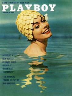 This cover is very creatively designed. The title of the magazine is obvious and catches your eye, contrasting with the photo used. The face of the model is not centered on her nose, instead one eye is the center of the photo. The colors of the water contrast nicely with the yellow of her swim cap and with the white and black writing. I will use this as inspiration as far as color contrast goes.