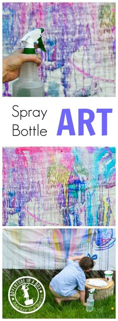 Bottle Painting This summer, try this outdoor activity with kids - making spray bottle art in your backyard! Tons of fun and no mess.This summer, try this outdoor activity with kids - making spray bottle art in your backyard! Tons of fun and no mess. Bottle Painting, Bottle Art, Spray Bottle, Spray Painting, Painting Tricks, Painting Videos, Cool Art Projects, Projects For Kids, Class Projects
