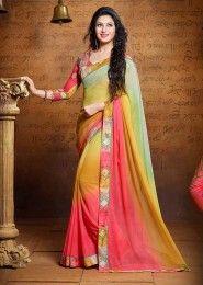 Party Wear Georgette Multi Colour Lace Border Work Saree