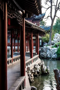 A veranda in Yuyuan, a private garden residence in Shanghai
