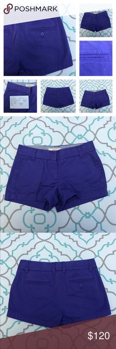"💙👖Adorable J Crew Cotton Shorts👖💙26 1/2  3 EUC 💙👖Adoranle J. Crew Chinos Short👖💙 SO CUTE! Size 2 (1/26). 2.75"" Inseam. 8.5"" Rise. 15.25"" Across Back. 100% Cotton. Great a Stretch. Pretty Purple Color. True Color is shown in the close up detail picture that also show two white flecks on Back Pocket. Chino. Broken In. Very Slight Fading. Excellent Used Condition. Gorgeous! Ask me any questions! J. Crew! Ask me any questions! : ) J. Crew Shorts"