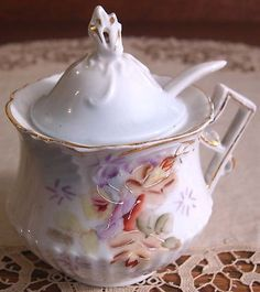 Gorgeous Antique Unmarked RS Prussia Porcelain Mustard Pot with Lid ...
