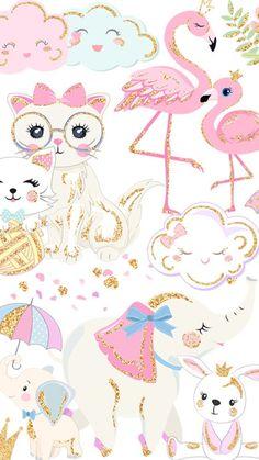 Phone Screen Wallpaper, Iphone Background Wallpaper, Glitter Wallpaper, Pink Wallpaper, Animal Drawings, Cute Drawings, Kids Prints, Art Prints, Dibujos Cute
