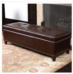 Leather Storage Ottoman Brown Baltimore Furniture Bench Seat Box Ottaman Otoman