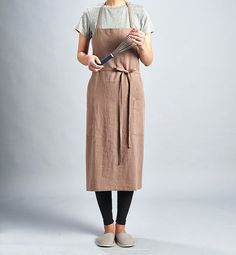 For expert full linen apron Milk Chocolate / by aroundLINEN