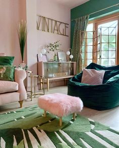 Pink & Green Living Room Decor Pink and green with gold accessories add a luxe glam vibe to my livin Living Room Green, Green Rooms, Green Bedroom Colors, Pink Living Rooms, Pink Green Bedrooms, Blush Pink Living Room, Bright Living Room Decor, Teal Bedroom Decor, Living Room Themes