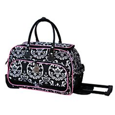 @Overstock - Carry your food items or drinks in style while keeping things organized in this elegant wheeled 20-inch carry-on luggage by Jenni Chan. Available in black-and-pink color and made of polyester, this duffer offers elegance and durability. http://www.overstock.com/Luggage-Bags/Jenni-Chan-Damask-20-inch-Black-Pink-Carry-On-Upright-Duffel-Bag/6822575/product.html?CID=214117 $59.99