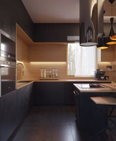 New kitchen design modern white wood ideas White Wood Kitchens, White Kitchen Decor, Kitchen Interior, Cool Kitchens, Best Kitchen Designs, Modern Kitchen Design, Modern Interior Design, Black Kitchen Cabinets, Kitchen Wood