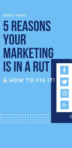 If your Marketing is in a rut, it could be because of these 5 Marketing and Strategy reasons. Learn how to fix these common marketing problems and grow your sales Marketing Words, Marketing Program, Inbound Marketing, Sales And Marketing, Marketing Strategies, Marketing Professional, Small Business Marketing, Business Tips, Sales Strategy