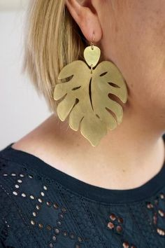 Monstera leaf statement earrings - megan auman