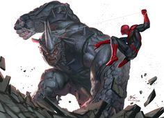 Rhino vs Spidey, In-Hyuk Lee on ArtStation at https://www.artstation.com/artwork/rhino-vs-spidey